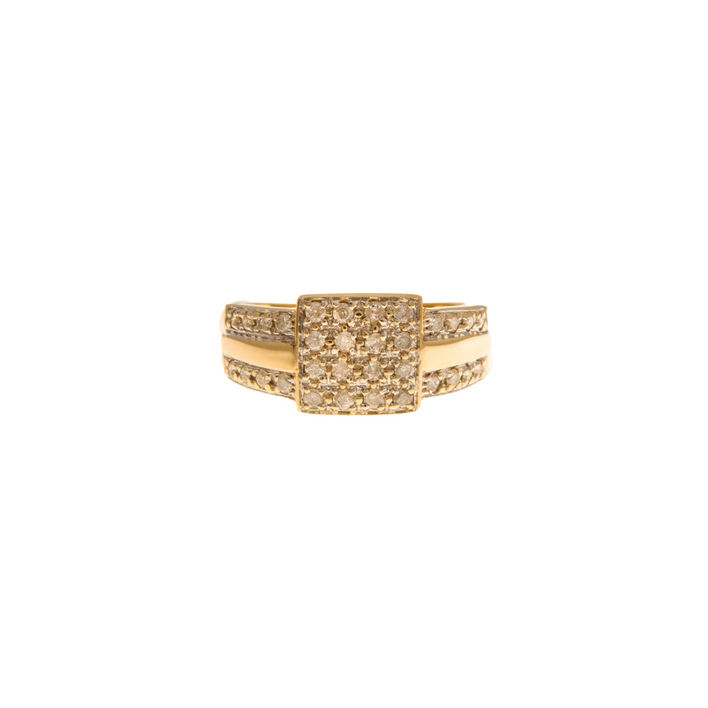 Pre-Owned Gold Pavé Diamond Square Cluster Ring