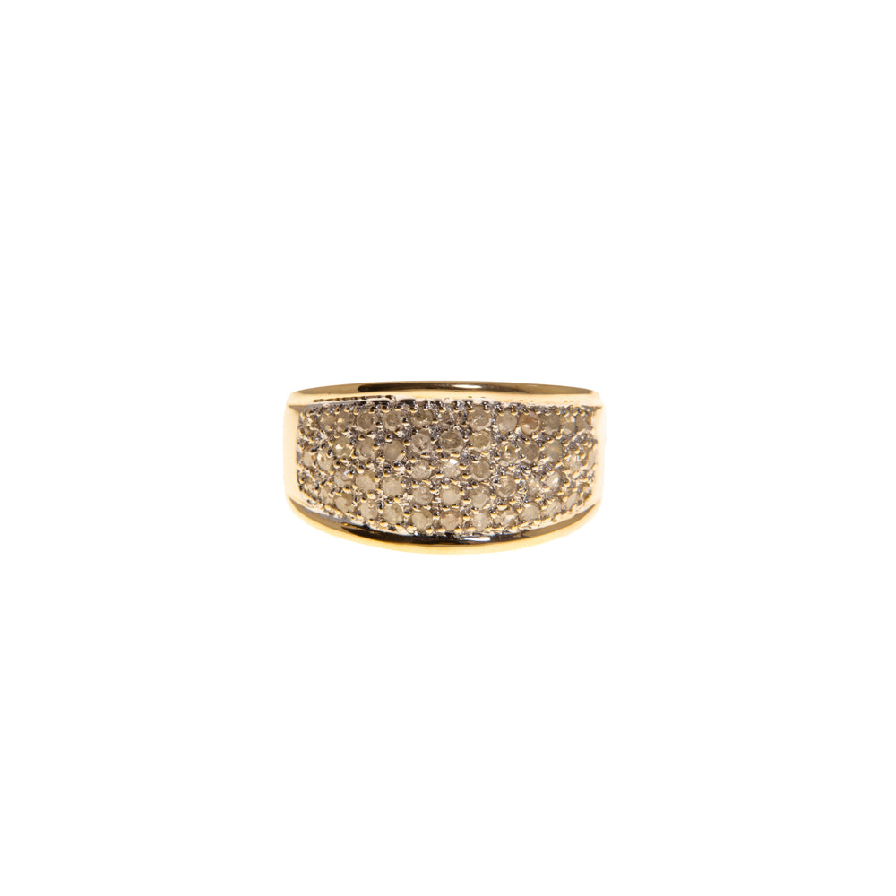 Pre-Owned 9ct Gold 5 Row Diamond Dome Ring