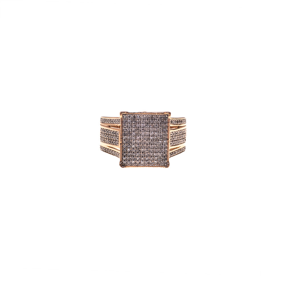 Pre-Owned 9ct Rose Gold Square Multi Diamond Ring