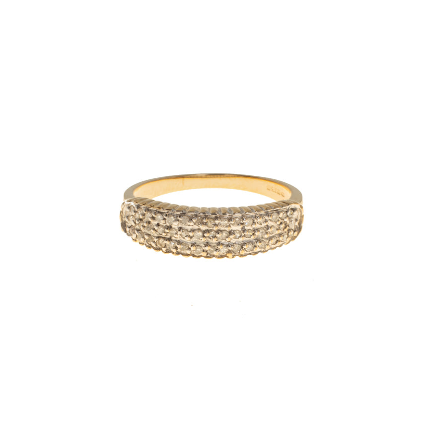 Pre-Owned 9ct Gold 3 Row Pavé Diamond 6mm Ring