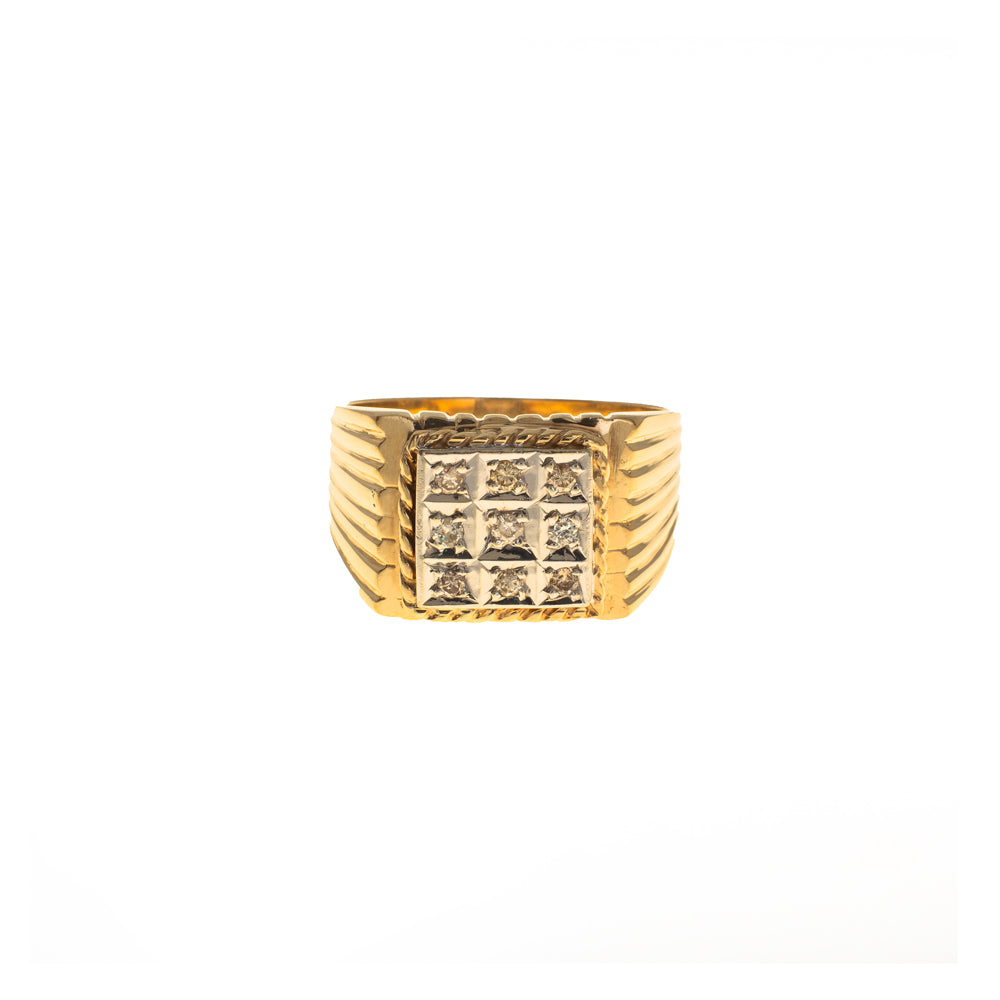 Pre-Owned Gold Gents 9 Diamond Square 12mm Ring