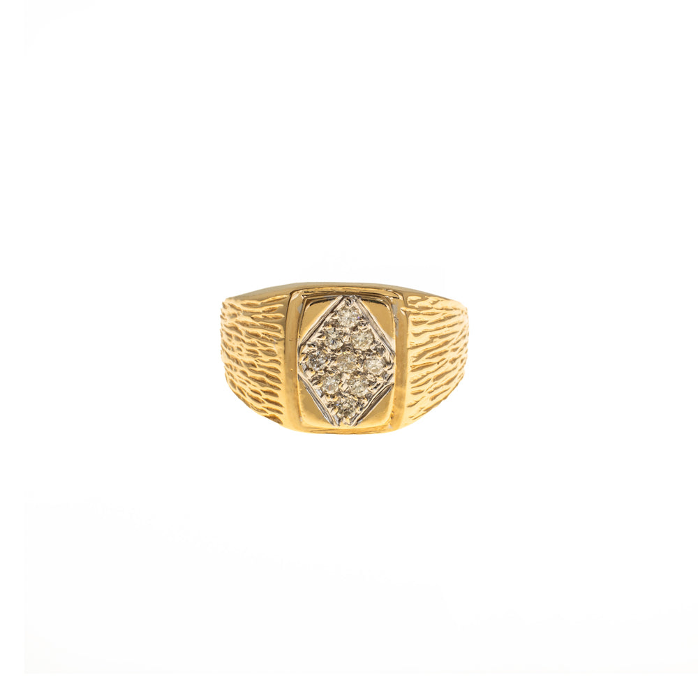 Pre-Owned Gold Rectangle Diamond Shape Signet Ring