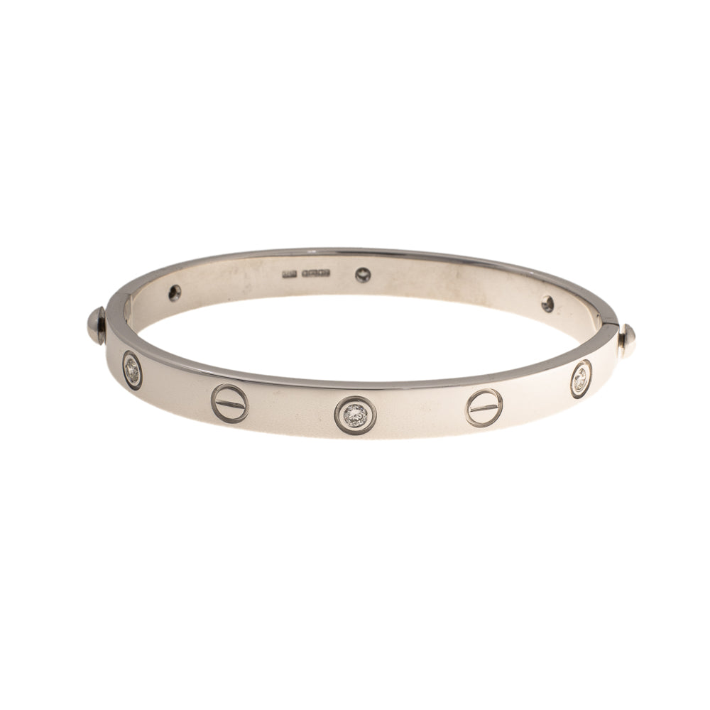 Pre-Owned 9ct White Gold Diamond Screw Bangle
