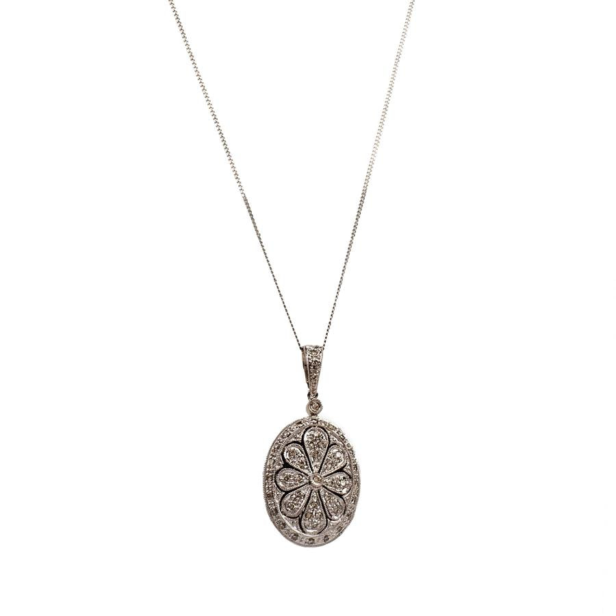 Pre-Owned 9ct Gold Diamond Flower Locket Necklace