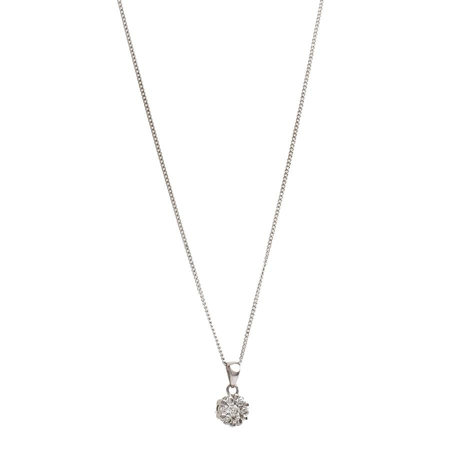 Pre-Owned Gold Diamond Cluster Pendant Necklace