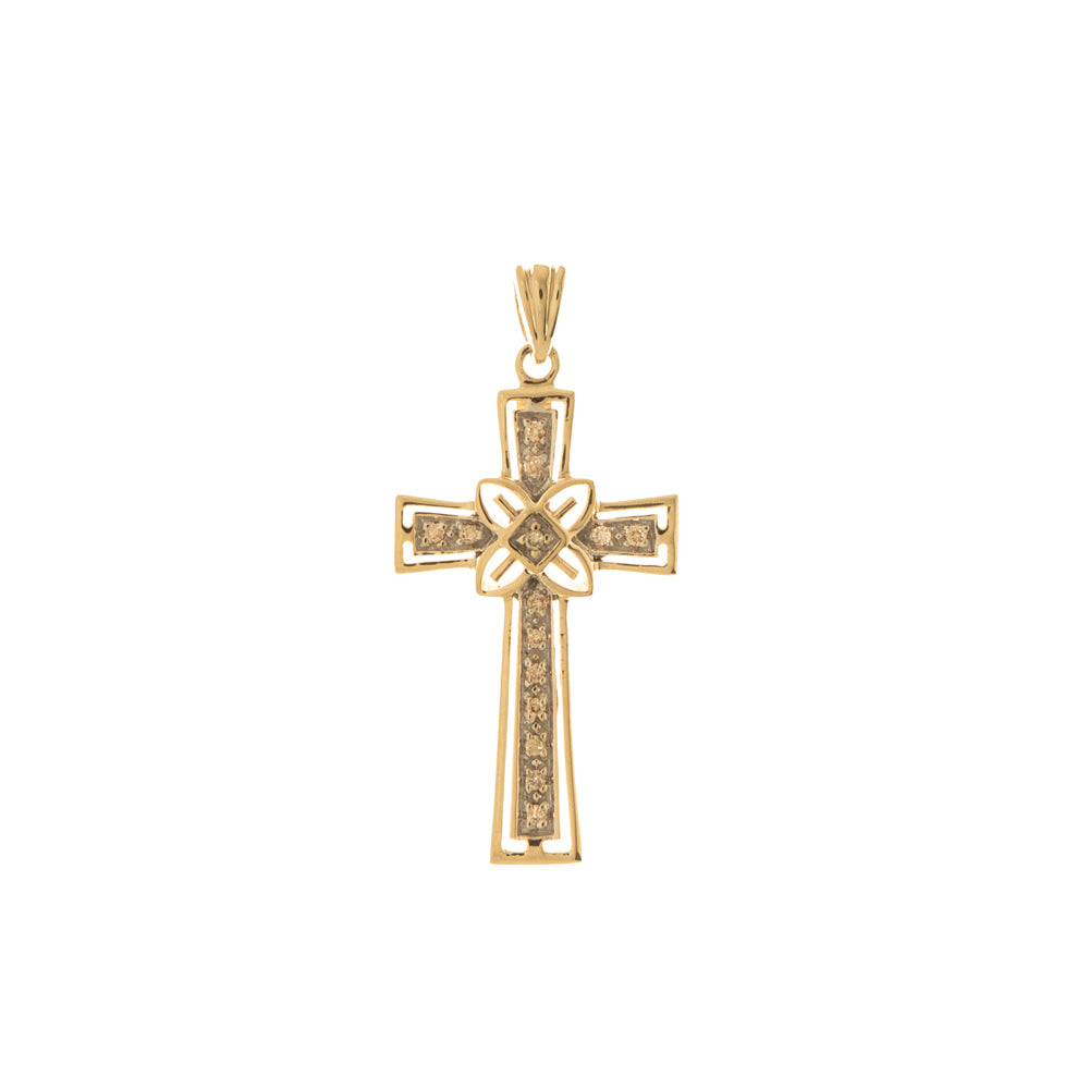 Pre-Owned 9ct Gold Diamond Byzantine Cross Pendant