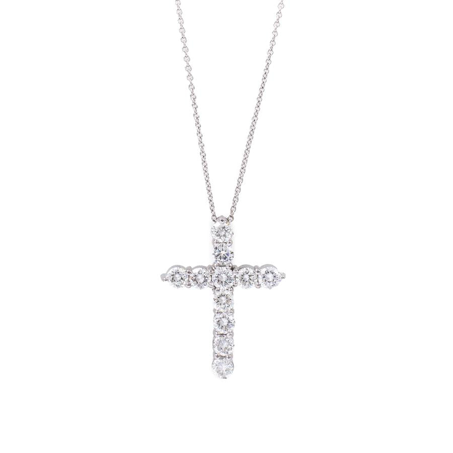 "Pre-Owned White Gold Diamond Cross 20"" Necklace"