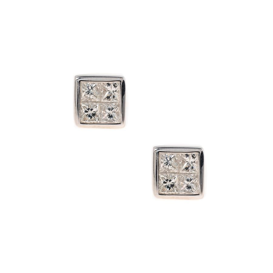 Pre-Owned Platinum Princess Diamond Stud Earrings