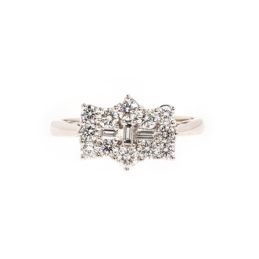 Pre-Owned Platinum Fancy Diamond Cluster Ring