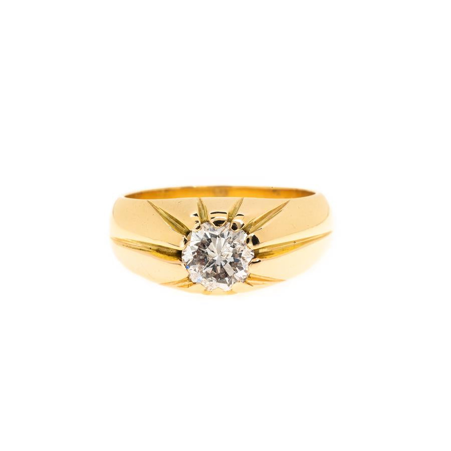 Pre-Owned 18ct Gold Gents Diamond Gypsy Style Ring