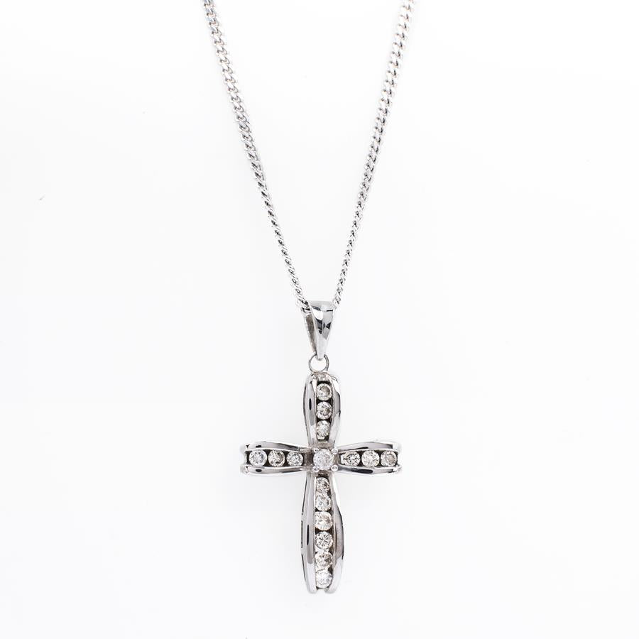 Pre-Owned White Gold Diamond Cross Curb Necklace