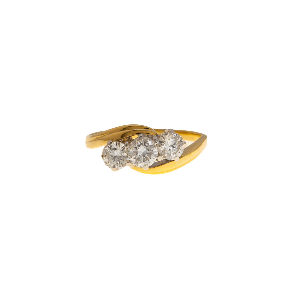 Pre-Owned 18ct Gold Three Diamond Bypass Ring