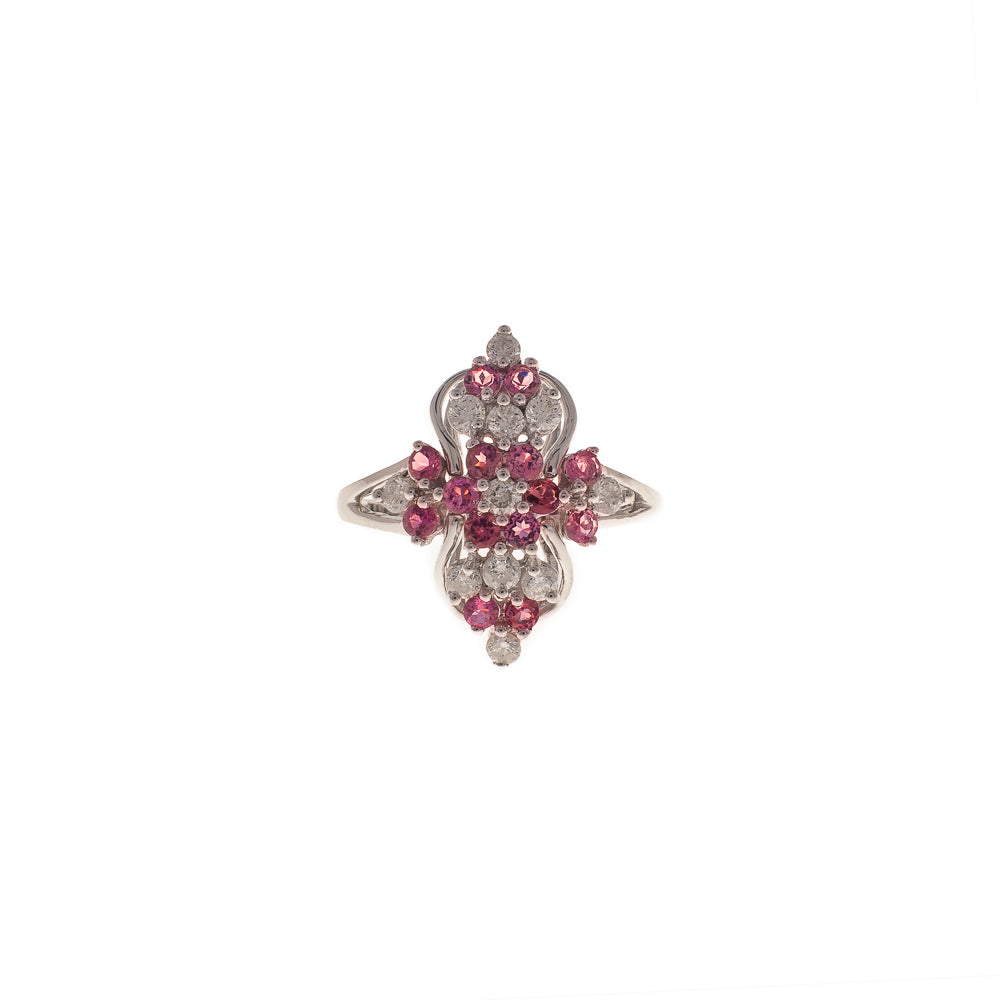 Pre-Owned Gold Diamond Pink Sapphire Cluster Ring