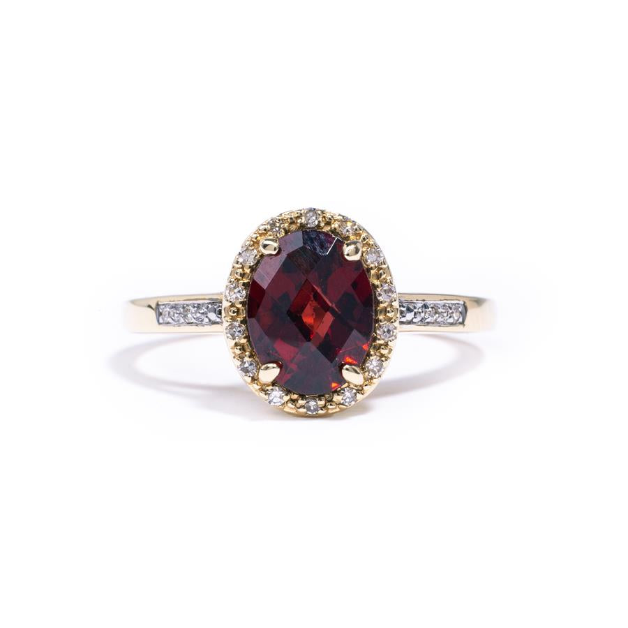 Pre-Owned 14ct Gold Garnet & Diamond Halo Ring