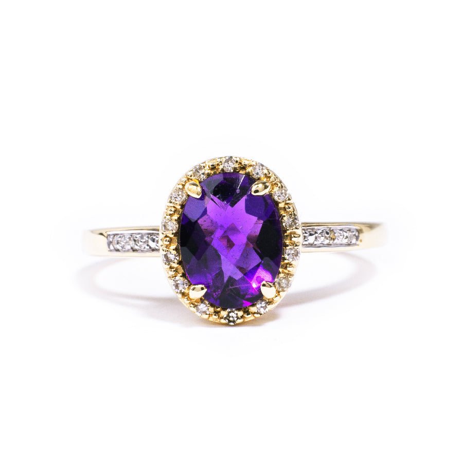 Pre-Owned Amethyst and Diamond Gold Cluster Ring