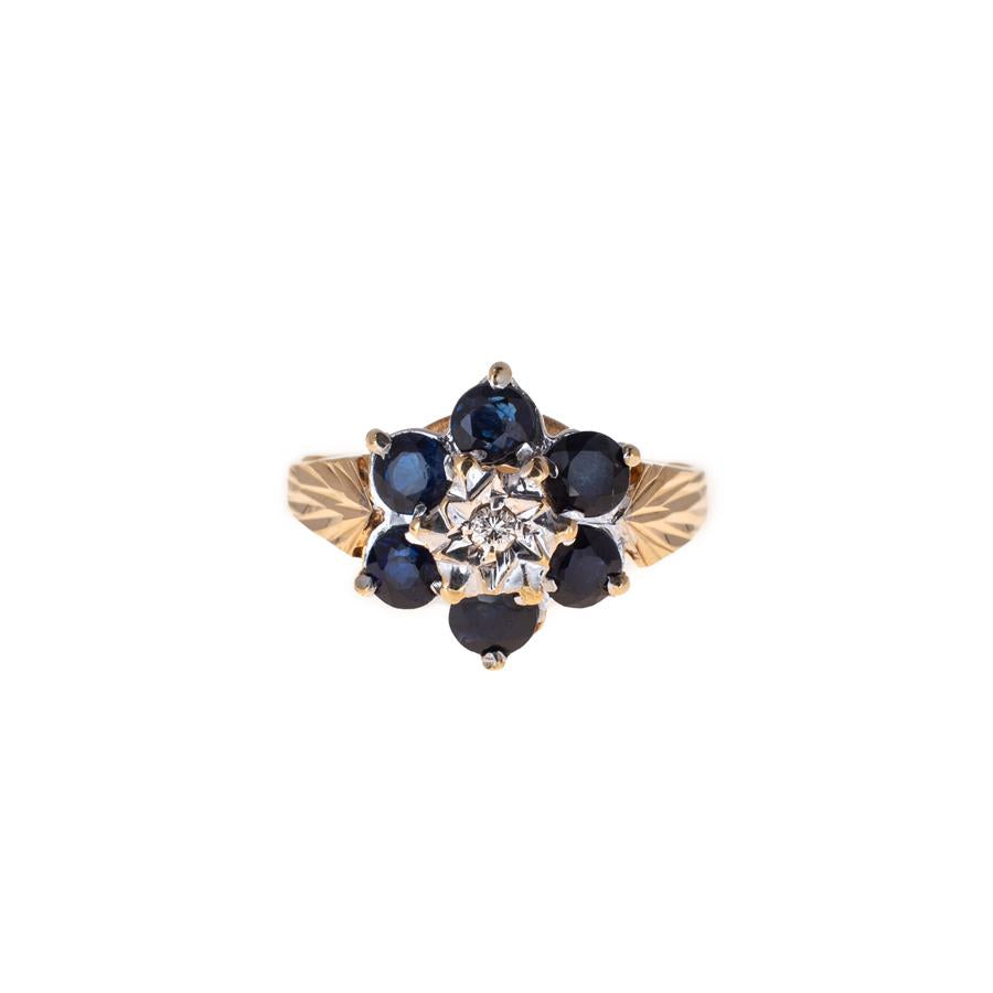 Pre-Owned Gold 6 Sapphire & Diamond Cluster Ring