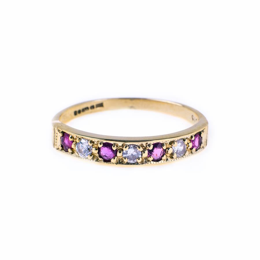 Pre-Owned 9ct Gold Diamond & Ruby 7 Stone Ring