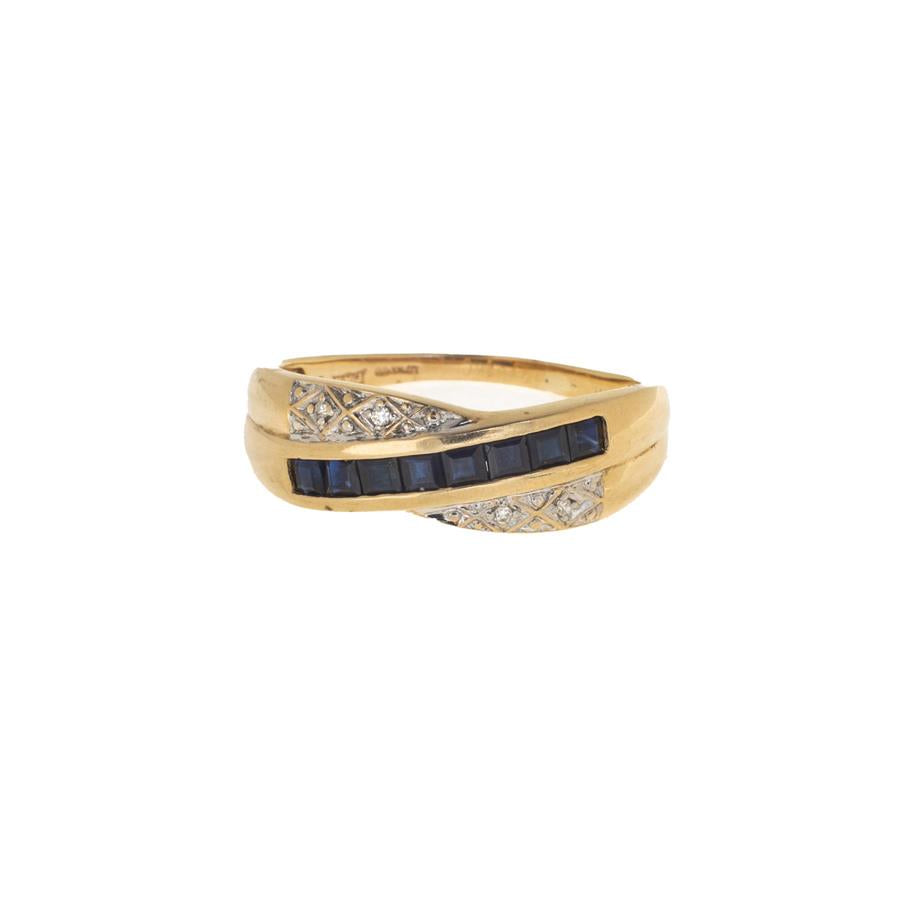 Pre-Owned Gold Diamond & Sapphire Cross Over Ring