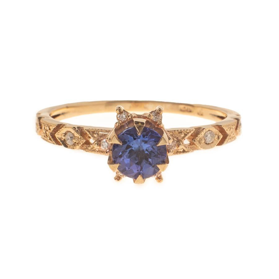 Pre-Owned 9ct Gold Blue Stone & Diamond Dress Ring