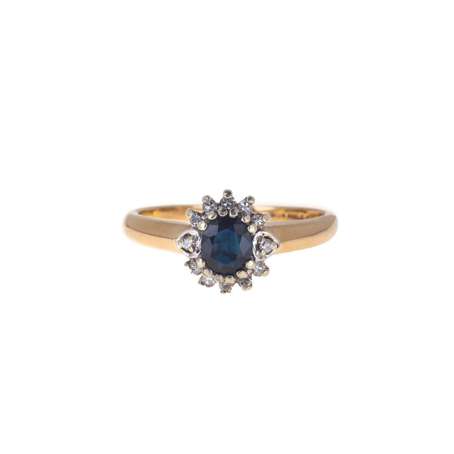 Pre-Owned Gold Oval Sapphire Diamond Cluster Ring