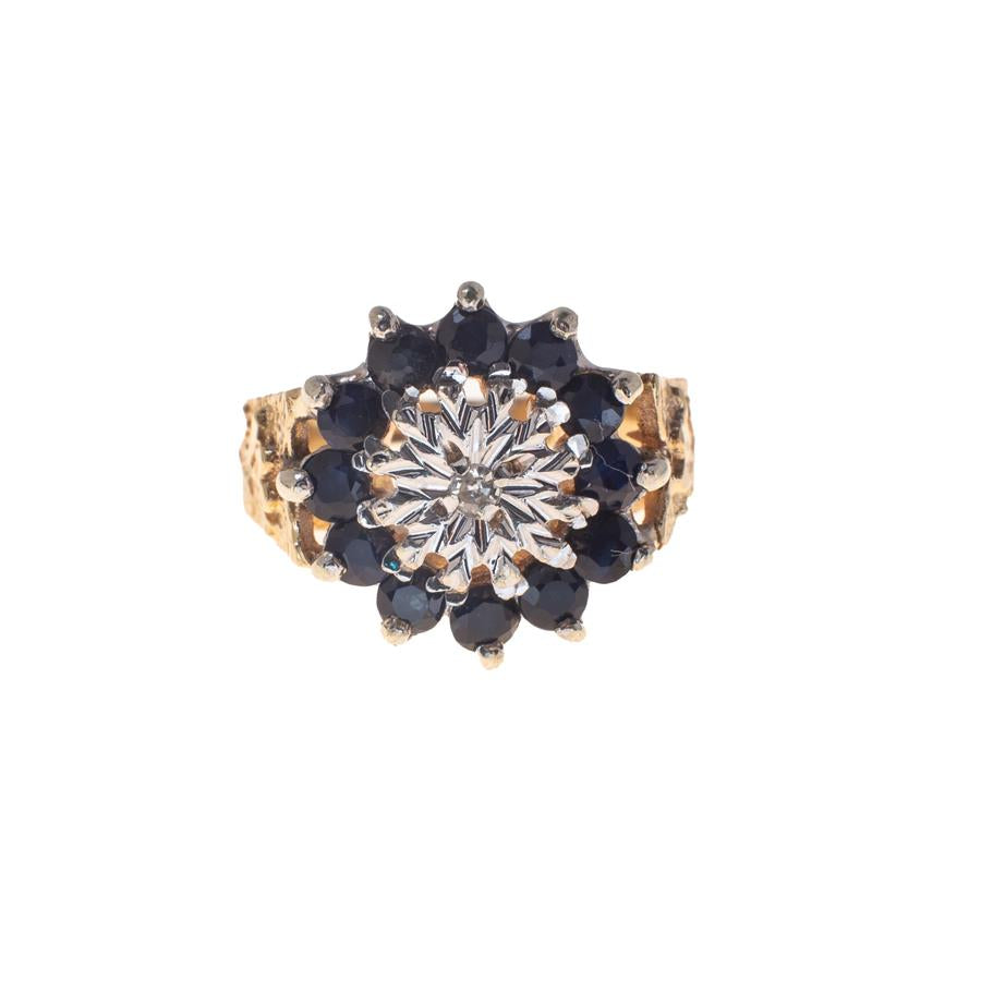 Pre-Owned Gold 12 Sapphire & Diamond Cluster Ring
