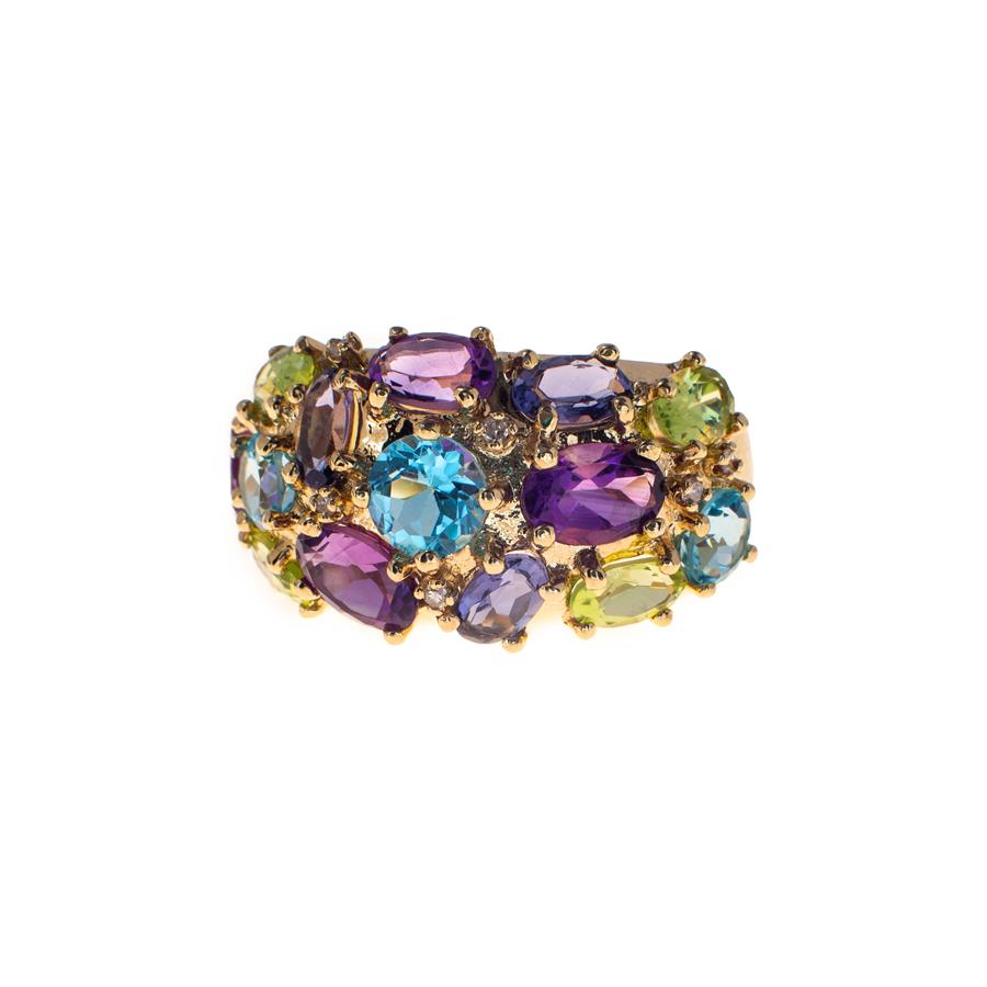 Pre-Owned 9ct Gold Diamond & Gemstones Ring