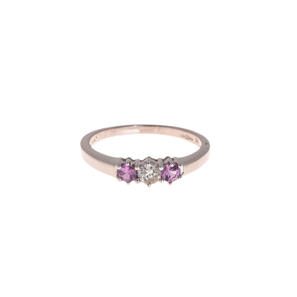 Pre-Owned 9ct White Gold Diamond Pink Gem Ring