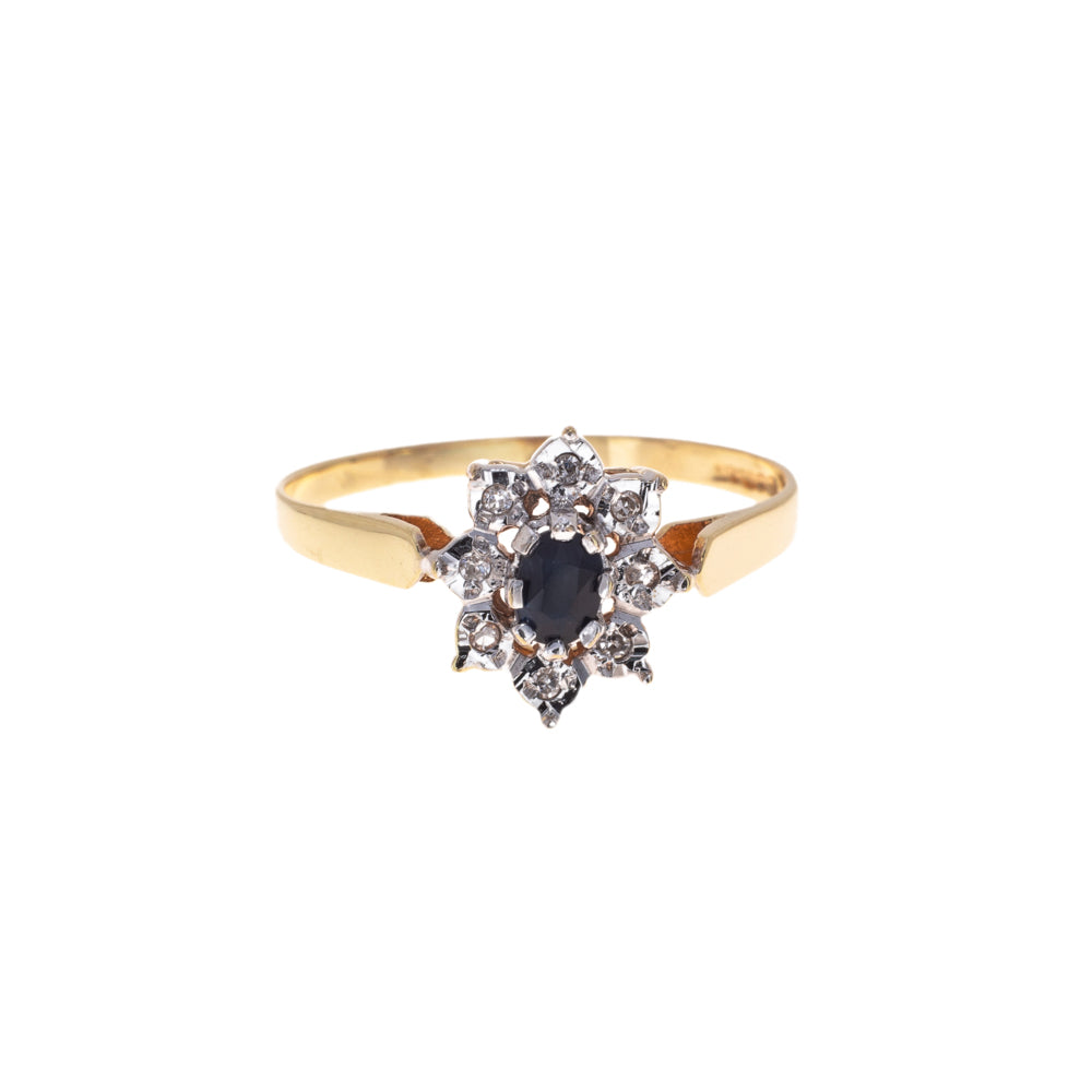 Pre-Owned 9ct Gold Diamond Sapphire Cluster Ring