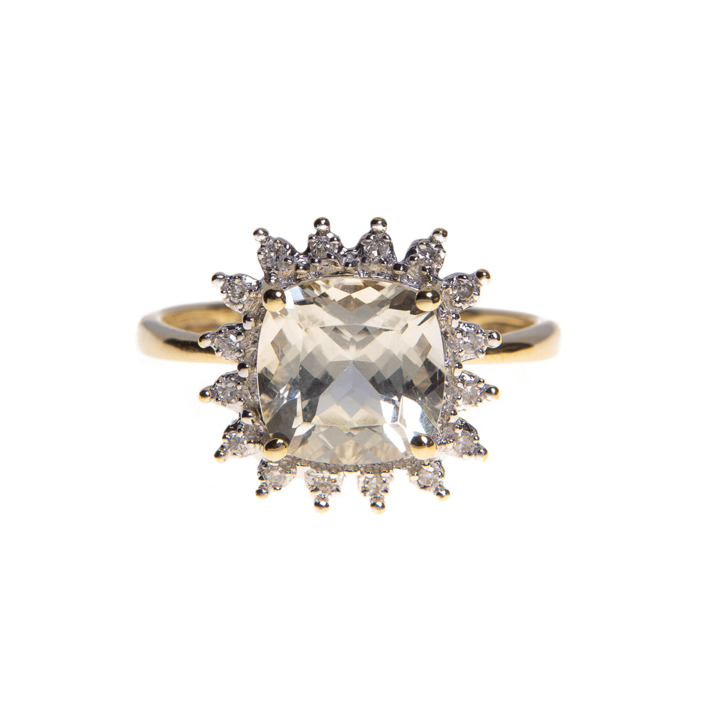 Pre-Owned 9ct Gold Diamond Quartz Cluster Ring