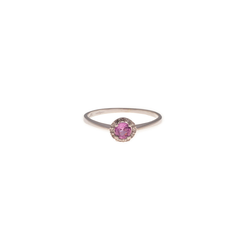 Pre-Owned 9ct Gold Pink Sapphire Diamond Halo Ring