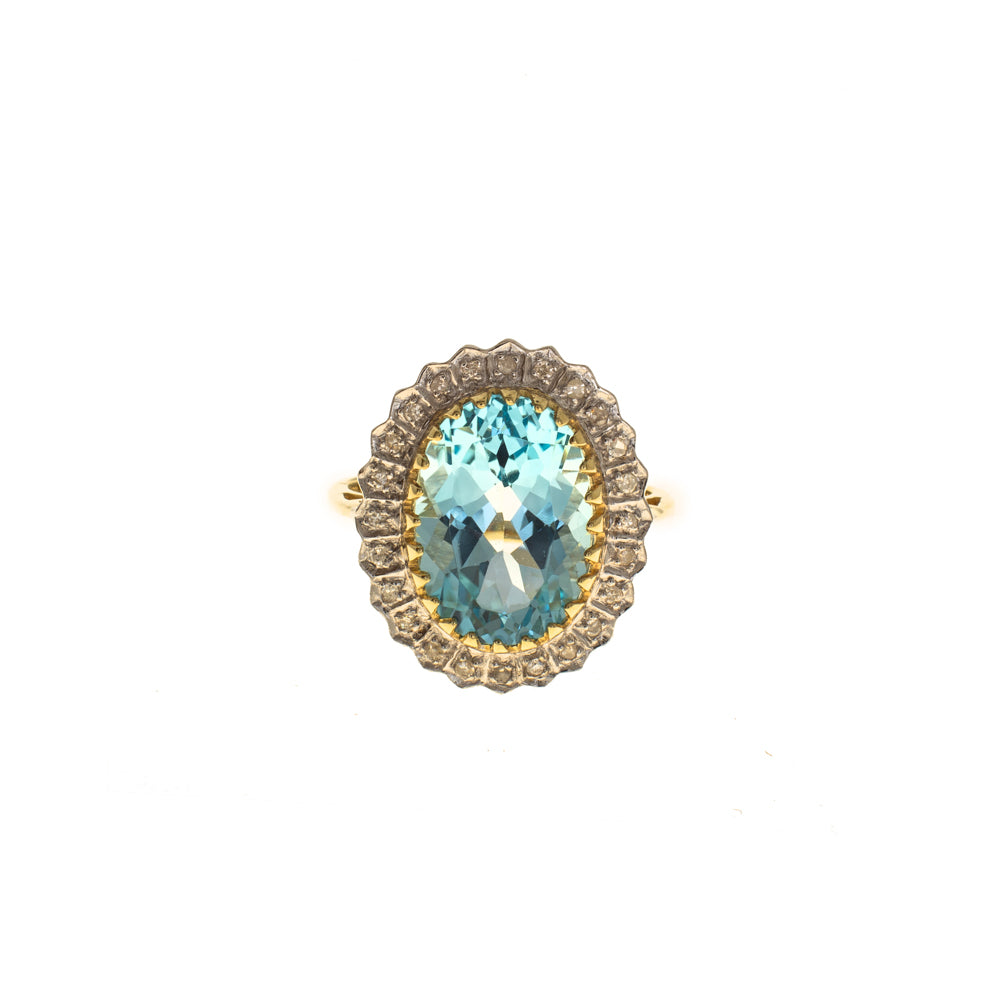 Pre-Owned 9ct Gold Blue Topaz & Diamond Halo Ring