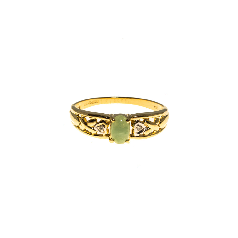 Pre-Owned 9ct Gold Oval Jade & Diamond Hearts Ring