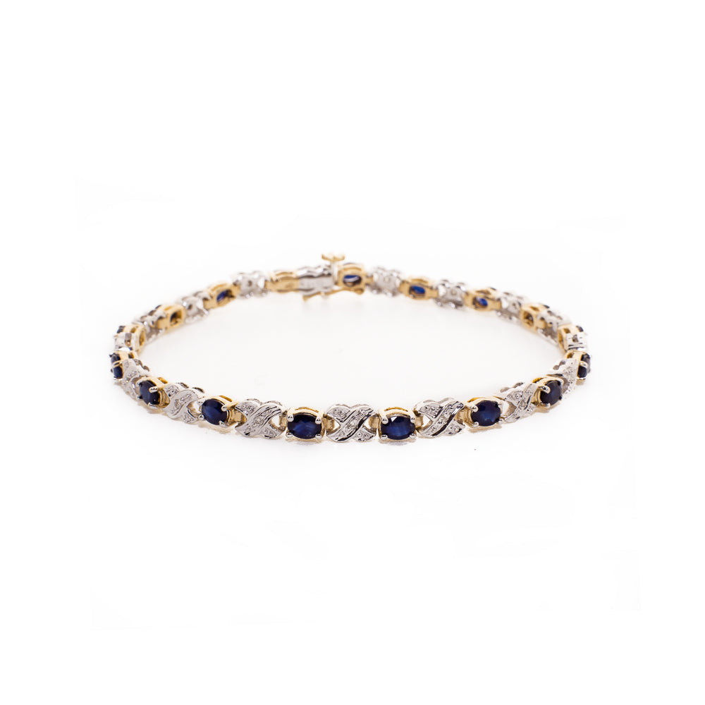 "Pre-Owned 9ct Gold 7"" Sapphire & Diamond Bracelet"