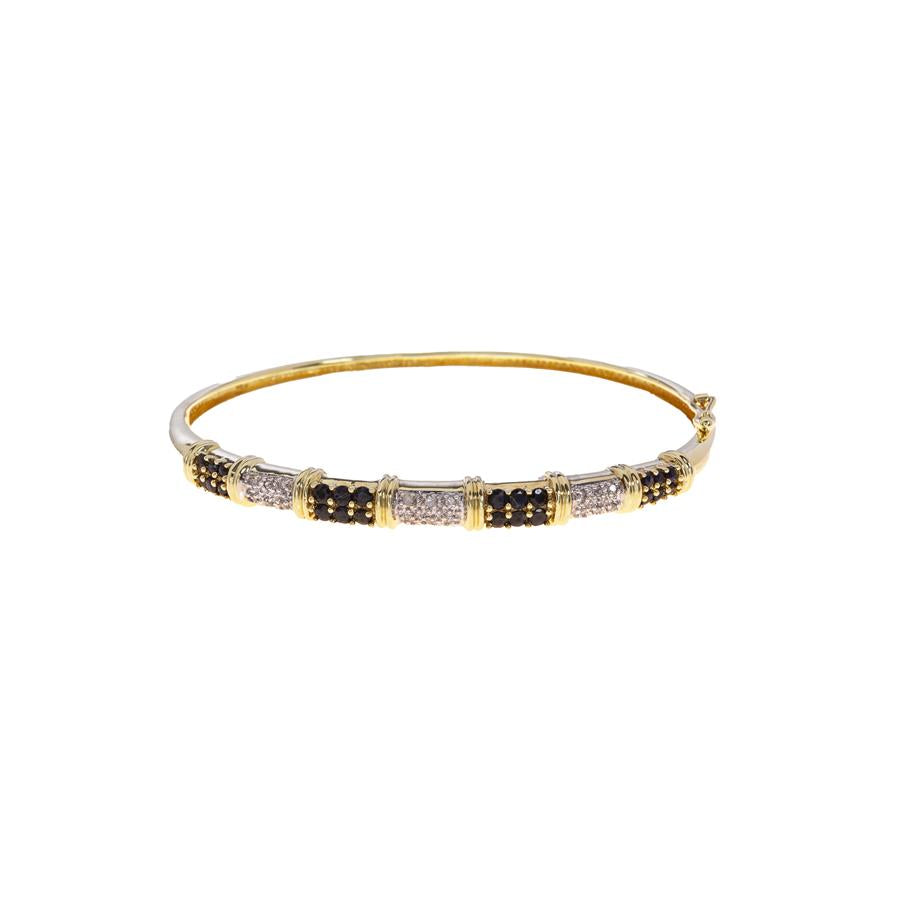 Pre-Owned Gold Sapphire Pavé Diamond Hinged Bangle