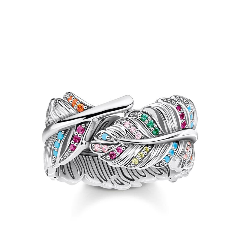 Thomas Sabo Silver Colorful Feather Ring TR2284-342-7