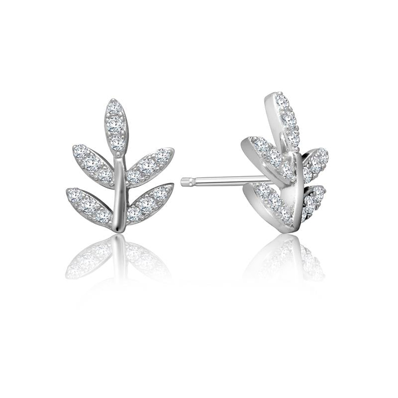 Achara Small Sparkling Leaf Stud Earrings