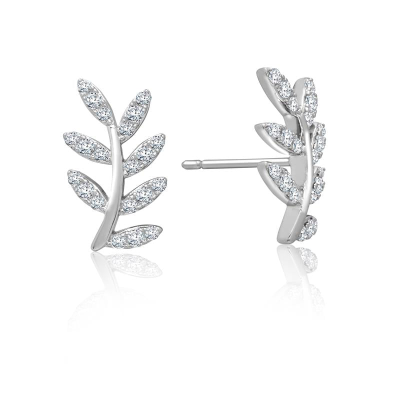Achara Sparkling Zirconia Leaf Stud Earrings