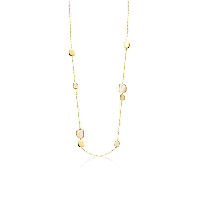 Achara Mother of Pearl Pebble Gold Long Necklace