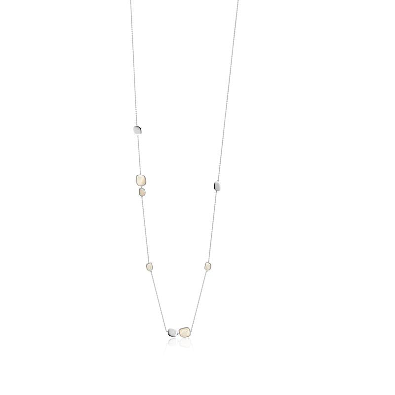 Achara Mother of Pearl Pebble Silver Long Necklace