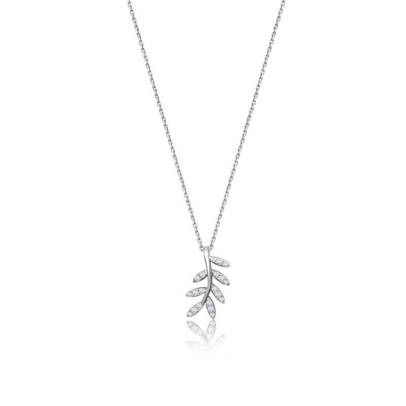Achara Zirconia Leaf Pendant Necklace
