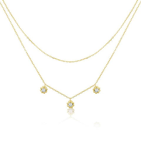 Achara Zirconia Flower Double Layered Necklace