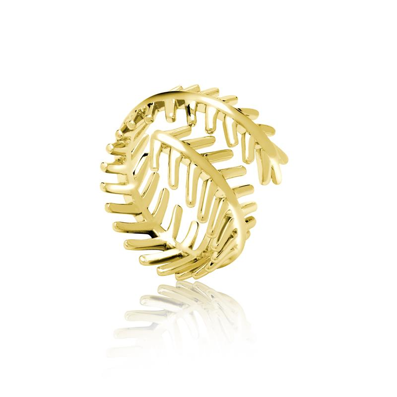 Achara Open Double Feather Gold Ring
