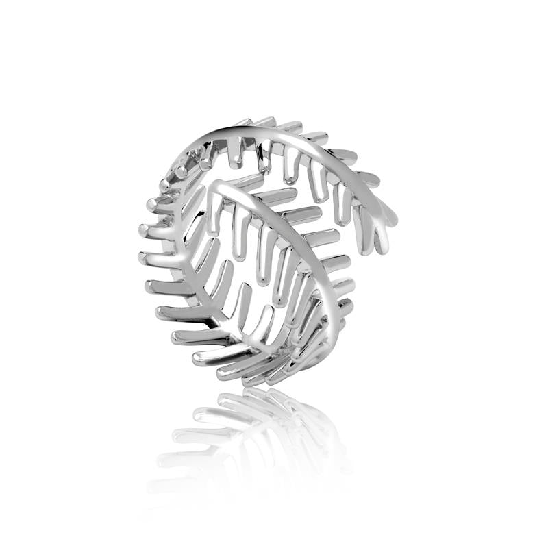 Achara Open Double Feather Silver Ring