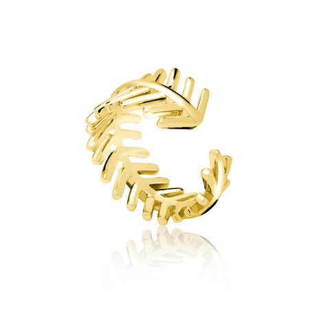 Achara Open Feather Gold Ring