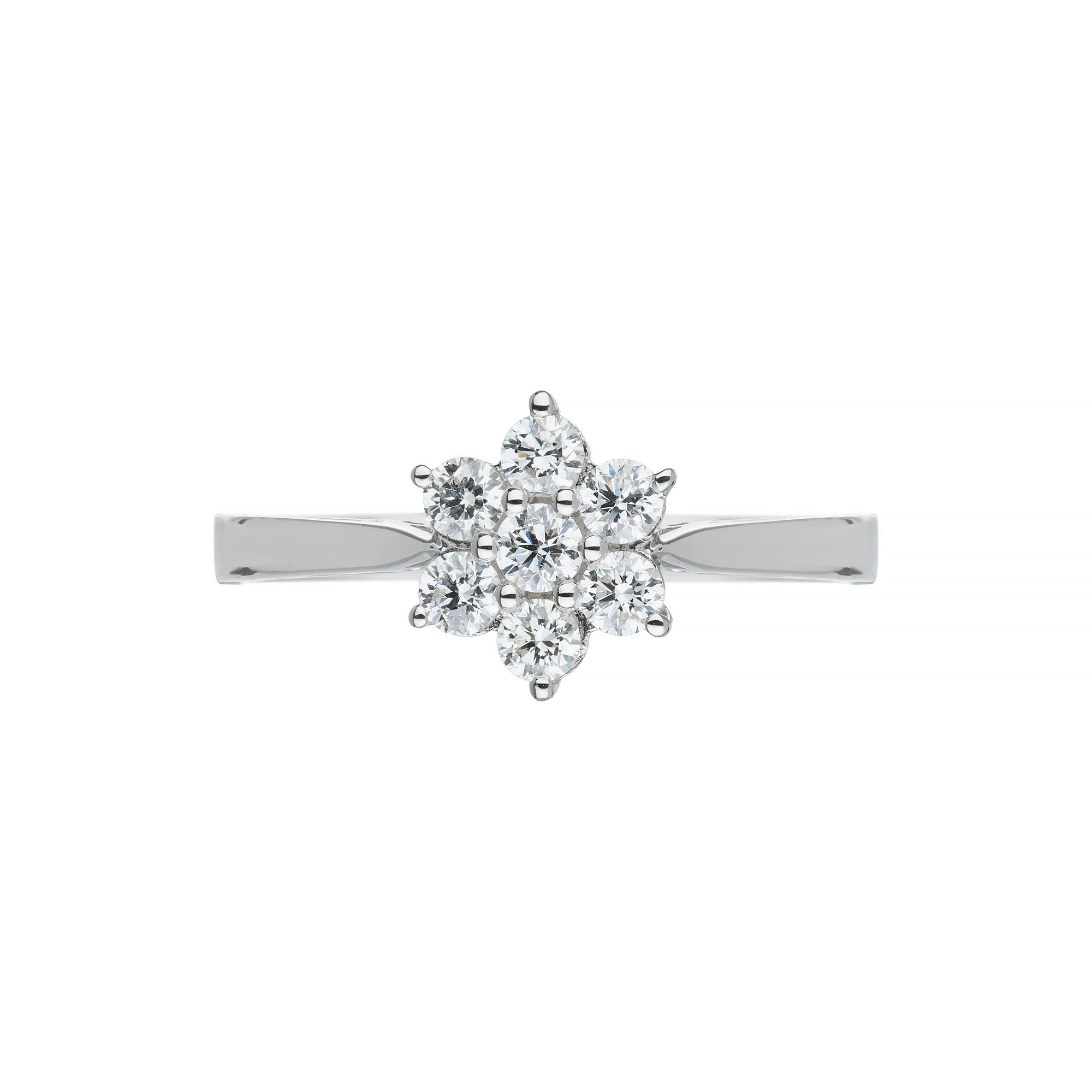 White Gold & Diamond Cluster Ring