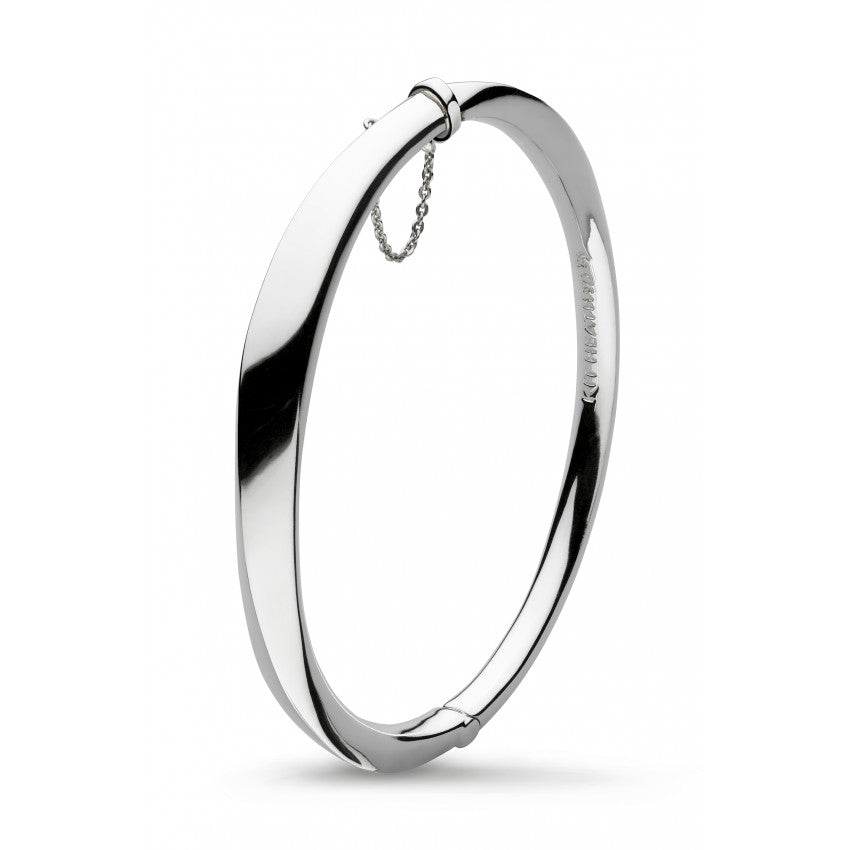 Bevel Cirque hinged silver bangle