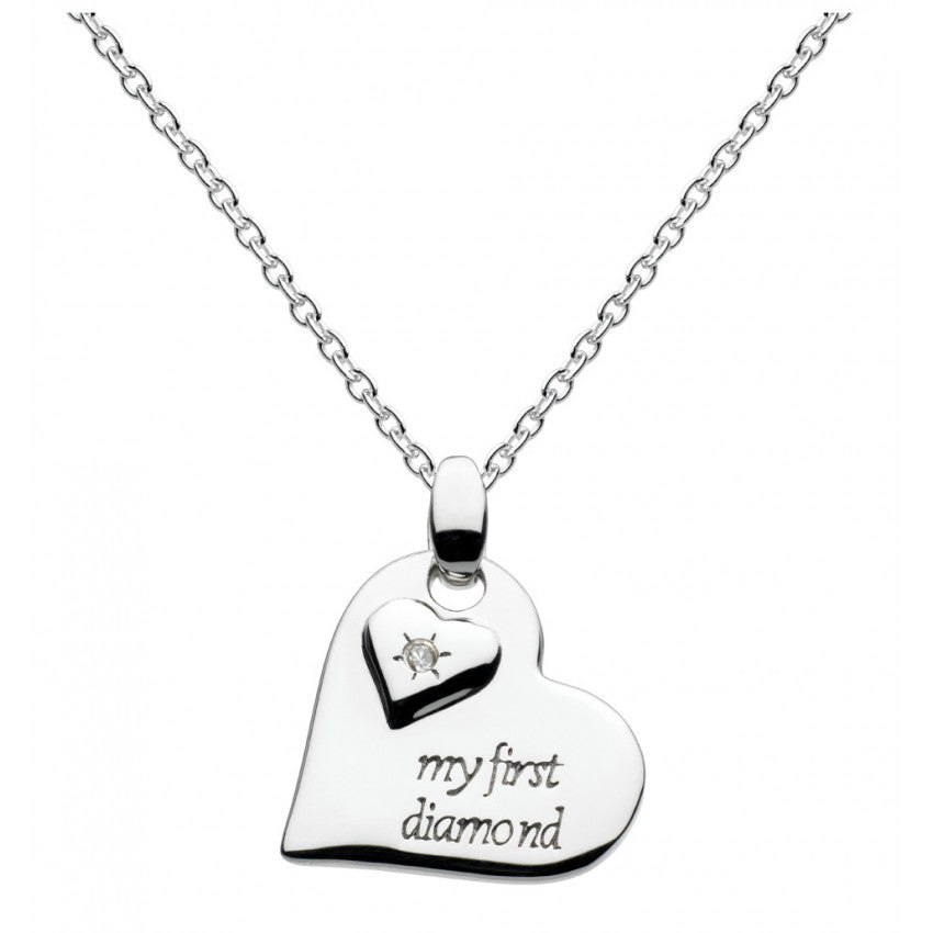 Girls My First Diamond heart silver necklace