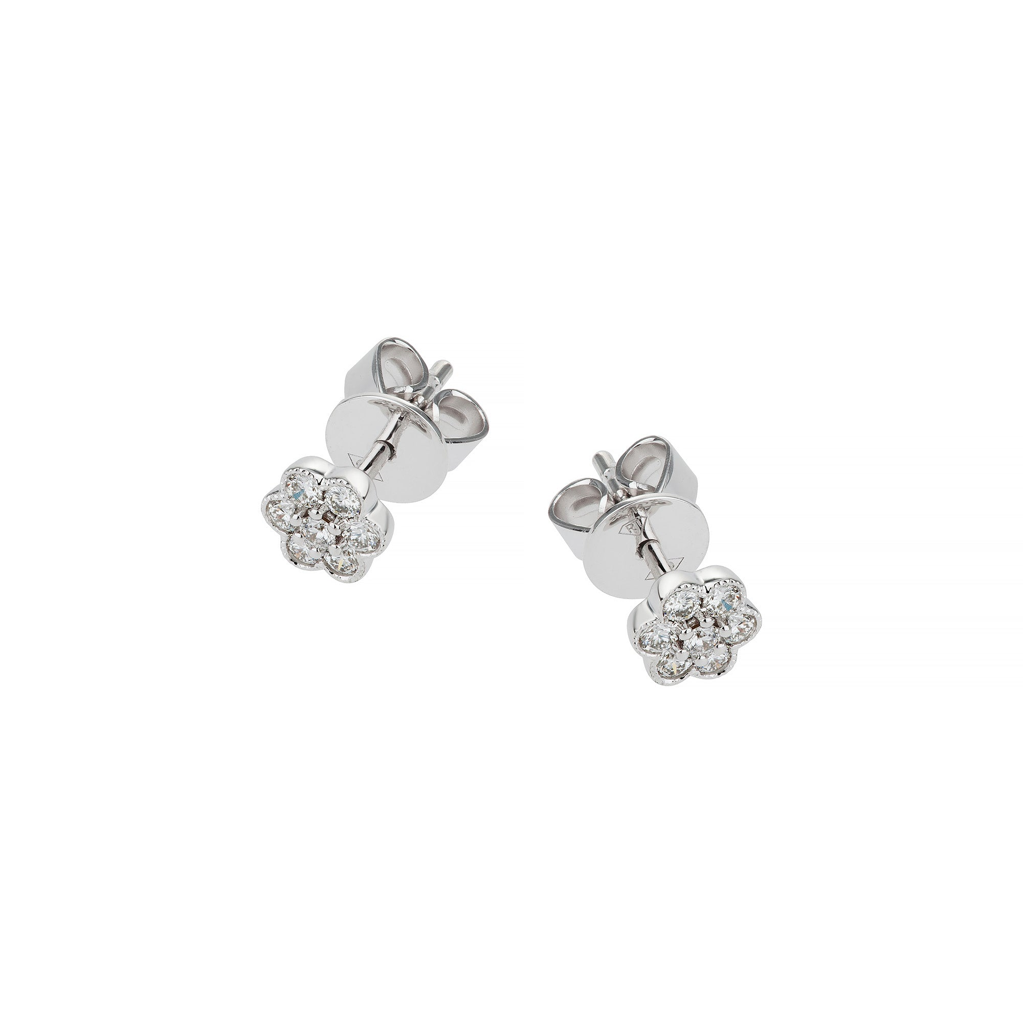 White Gold & Diamond Small Flower Earrings