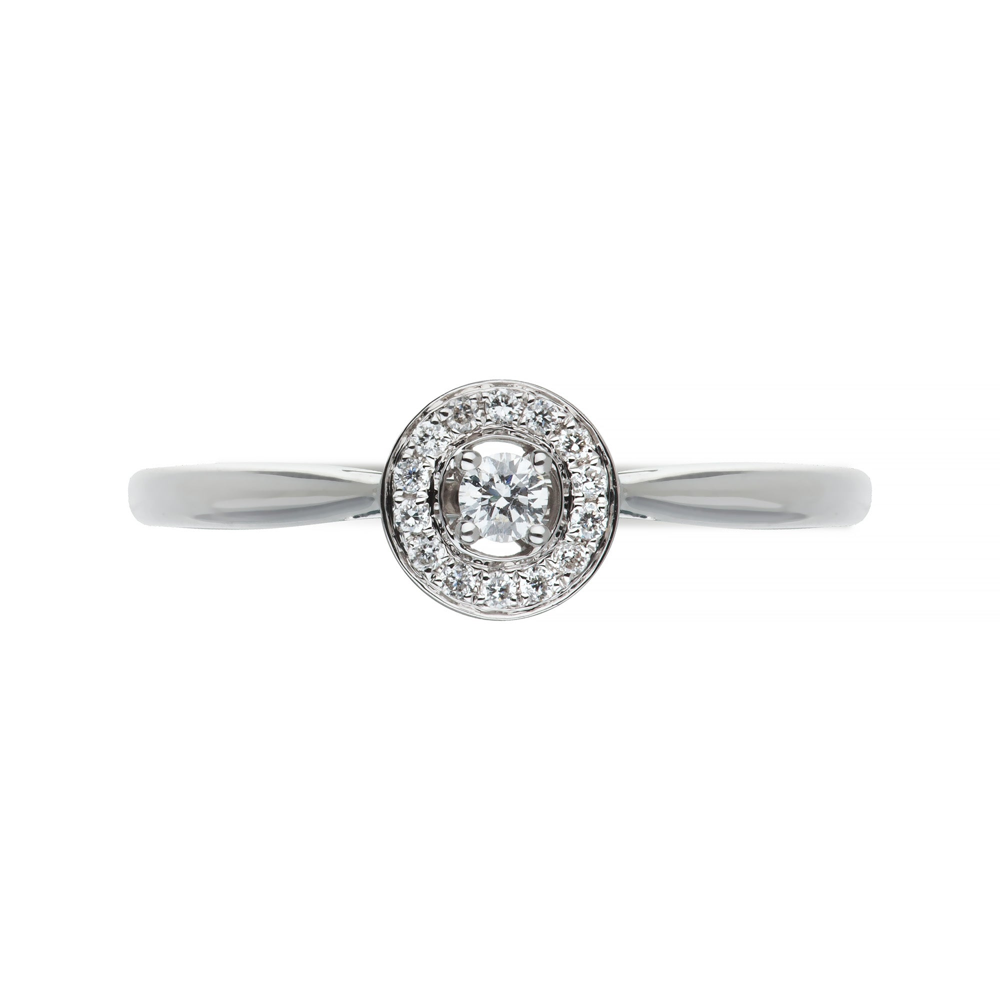 White Gold & Diamond Halo Ring