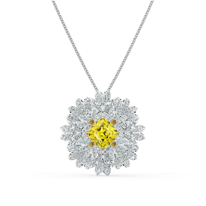 Swarovski Eternal Flower Yellow Brooch Necklace 5518147